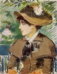 young girl on a bench by edouard manet painting