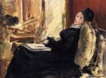 edouard manet young woman with book painting