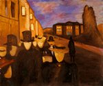 evening on karl johan by edvard munch painting