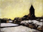 old aker church by edvard munch painting