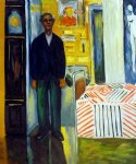 edvard munch self portrait between clock and bed ii painting