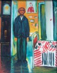 edvard munch self portrait between clock and bed painting 34991