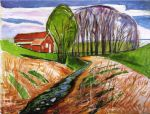 spring landscape at the red house 1935 by edvard munch painting