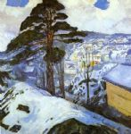 winter kragero by edvard munch painting