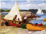 edward henry potthast canoes and sailboats painting