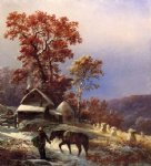edward moran winter at the farm painting
