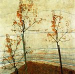egon schiele autumn trees painting