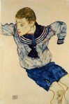 egon schiele boy in a sailor suit painting