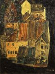 city on the blue river i by egon schiele painting