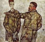 egon schiele double portrait of heinrich bensch and his son otto painting