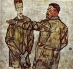 portrait paintings - double portrait by egon schiele