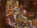 edge of town by egon schiele painting