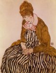 edith schiele seated by egon schiele painting