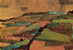 field landscape by egon schiele painting