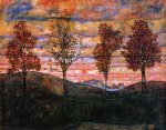 egon schiele four trees oil painting