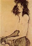 egon schiele girl in black painting