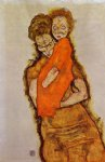 egon schiele mother and child iii painting