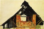old brick house in carinthia by egon schiele painting