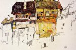 egon schiele old houses in krumau painting