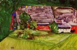 egon schiele peasant homestead in a landscape painting 34571