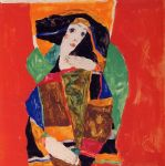 portrait paintings - portrait of a woman by egon schiele