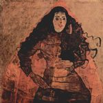 portrait paintings - portrait of trude engel by egon schiele