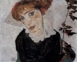 portrait paintings - portrait of valerie neuzil by egon schiele