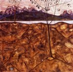 river landscape by egon schiele painting