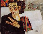egon schiele self portrait with black vase and spread fingers painting