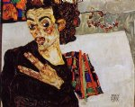 egon schiele self portrait with black vase and spread fingers paintings