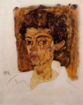egon schiele self portrait with brown background painting 34654