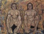 squatting women s pair by egon schiele painting