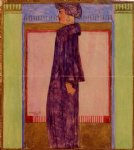 standing woman in profile by egon schiele painting