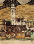 egon schiele stein on the danube painting