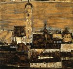 stein on the danube seen from the kreuzberg large version by egon schiele painting