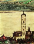 stein on the danube seen from the kreuzberg small version by egon schiele painting