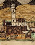 stein on the danube small version by egon schiele painting
