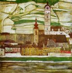 stein on the danube with terraced vineyards by egon schiele painting