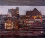 suburb by egon schiele painting