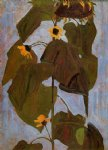 sunflower i by egon schiele painting