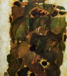 egon schiele sunflowers painting