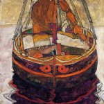 trieste fishing boat by egon schiele painting