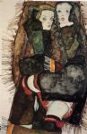 egon schiele two girls on a fringed blanket painting