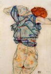 woman undressing by egon schiele painting