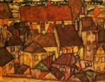 yellow city by egon schiele painting