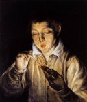 a boy blowing on an ember to light a candle by el greco painting
