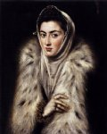 a lady in a fur wrap by el greco painting