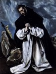 st dominic in prayer by el greco painting