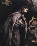 st francis in prayer before the crucifix by el greco painting