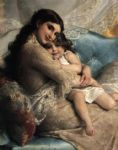 emile munier portrait of a mother and daughter painting
